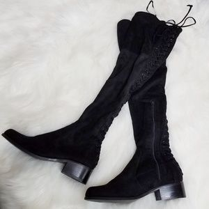 Charles David Black Suede Lace Up Back Knee Boots